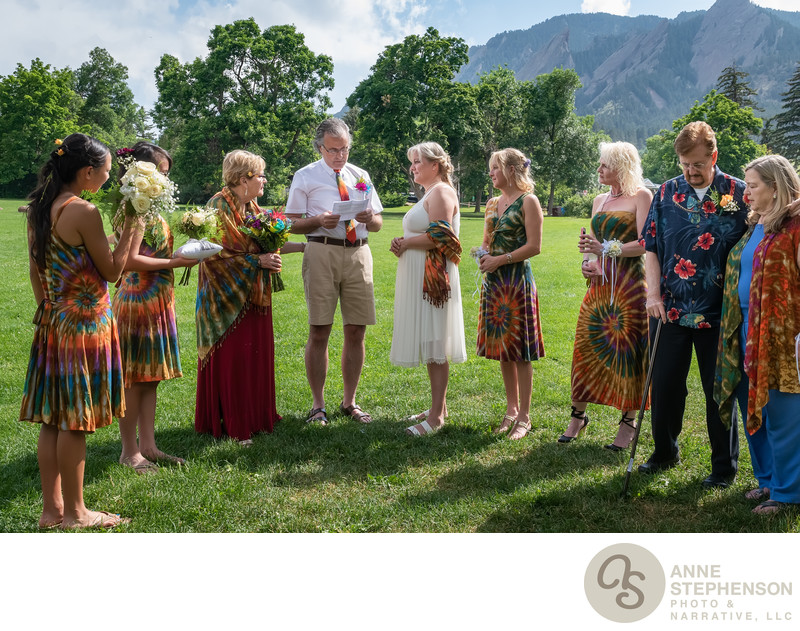Groom Speaks Vows at Chautauqua Park Tie-Dye Wedding