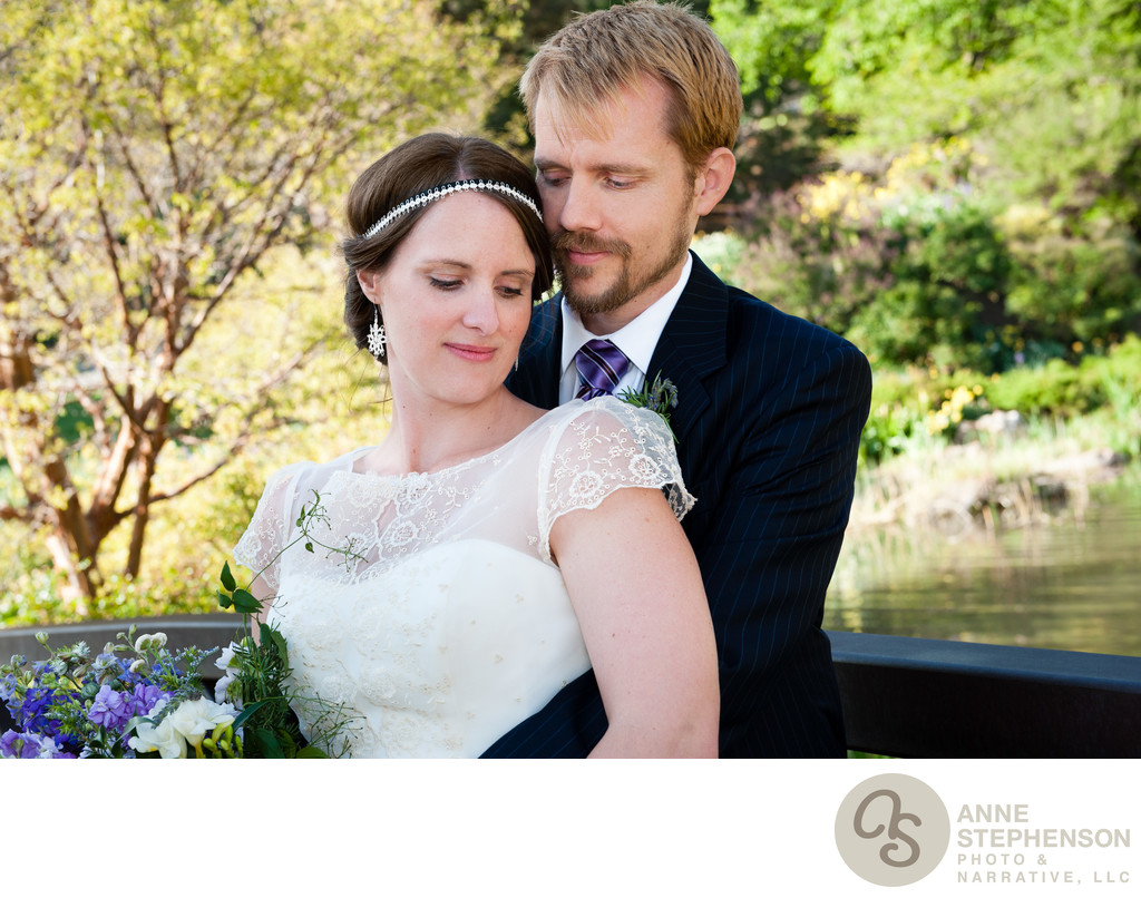 Bride and Groom Portrait in Botanical Garden