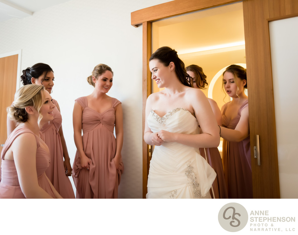 Bride and Attendants Getting Ready in Hotel Room