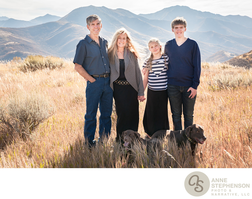 Outdoor Family Portrait with Mountains