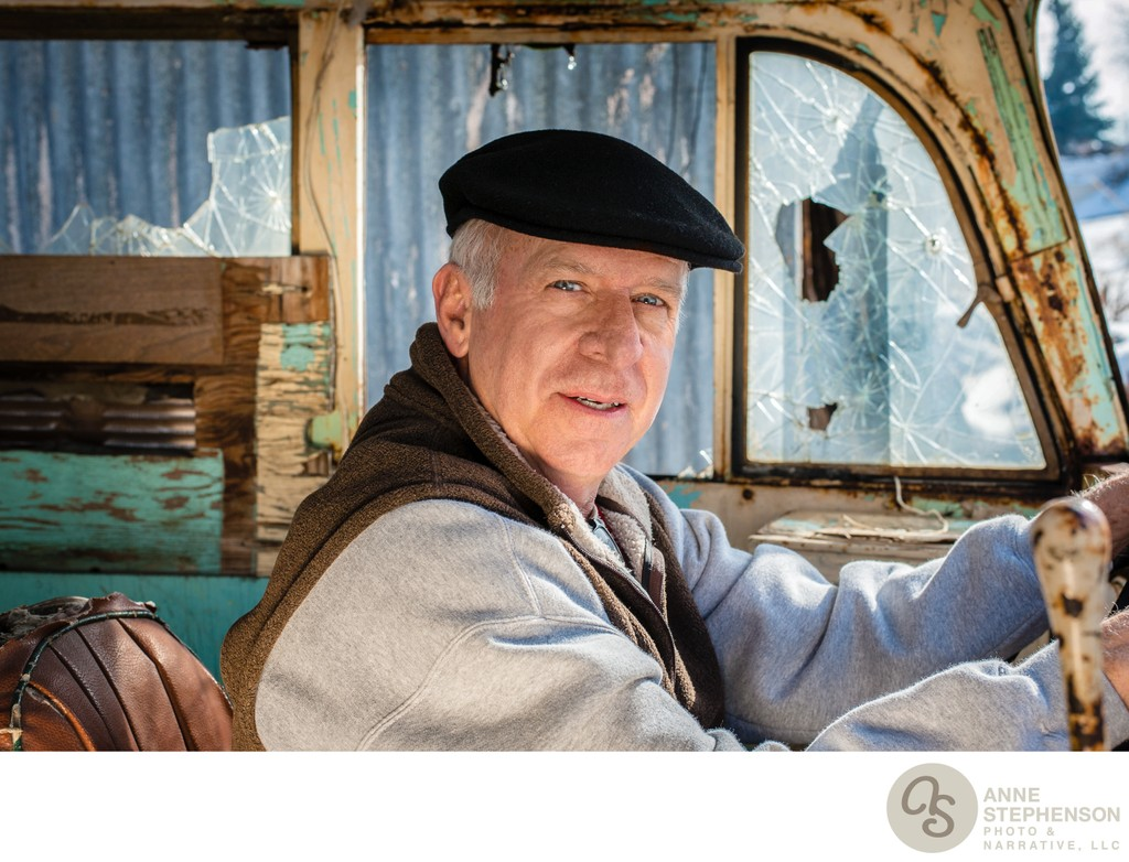 Outdoor Portrait of Older Gentleman in Antique Bus