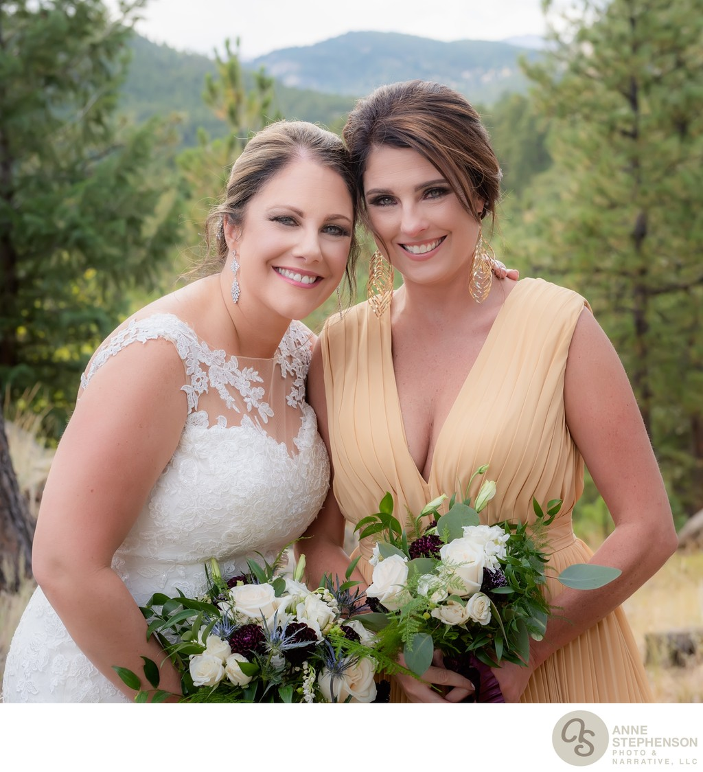 Bride and Maid of Honor in Outdoor Forest Setting