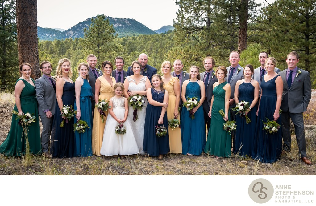 Nineteen Member Bridal Party with Bride and Groom