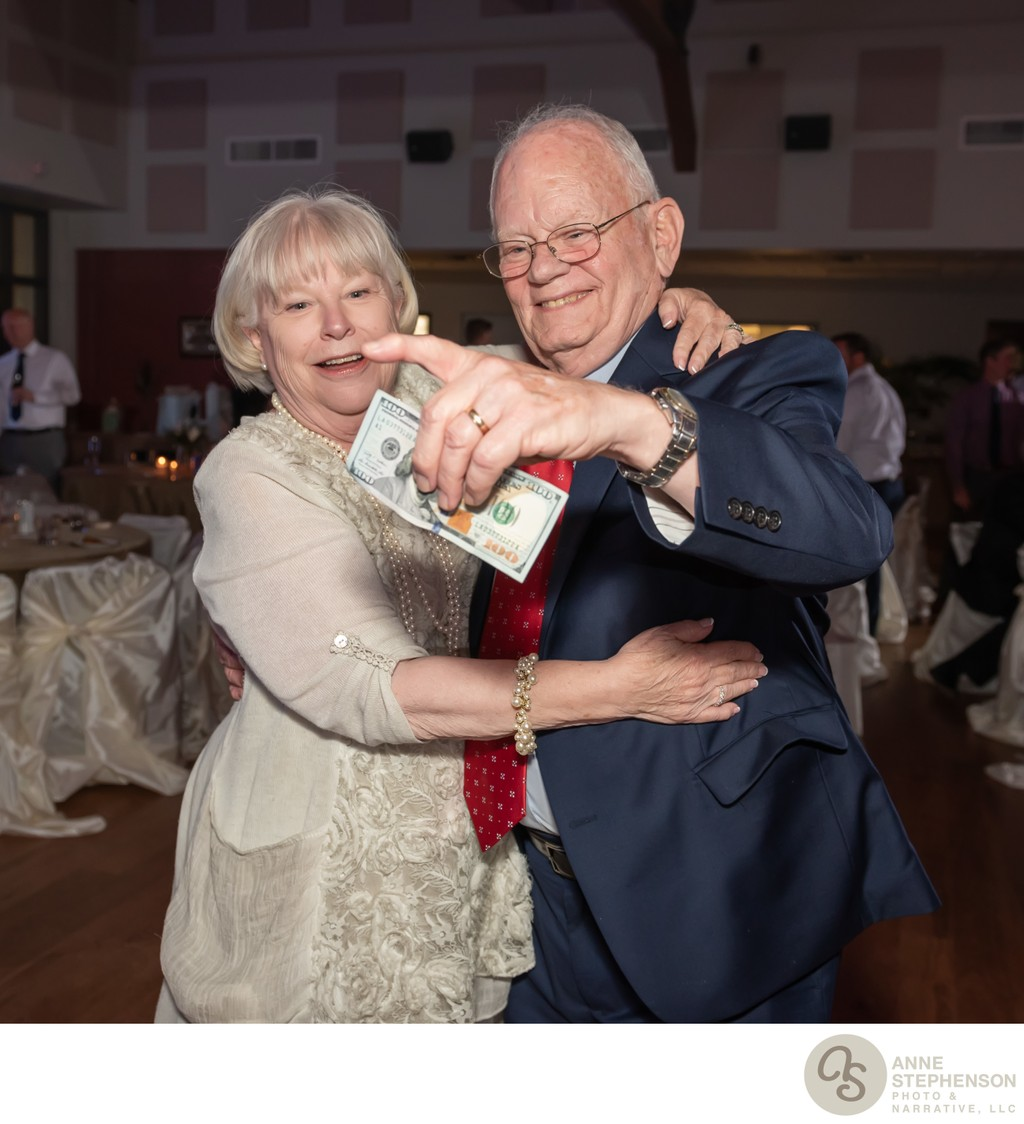 Older Couple with Cash Award for Being Longest Married