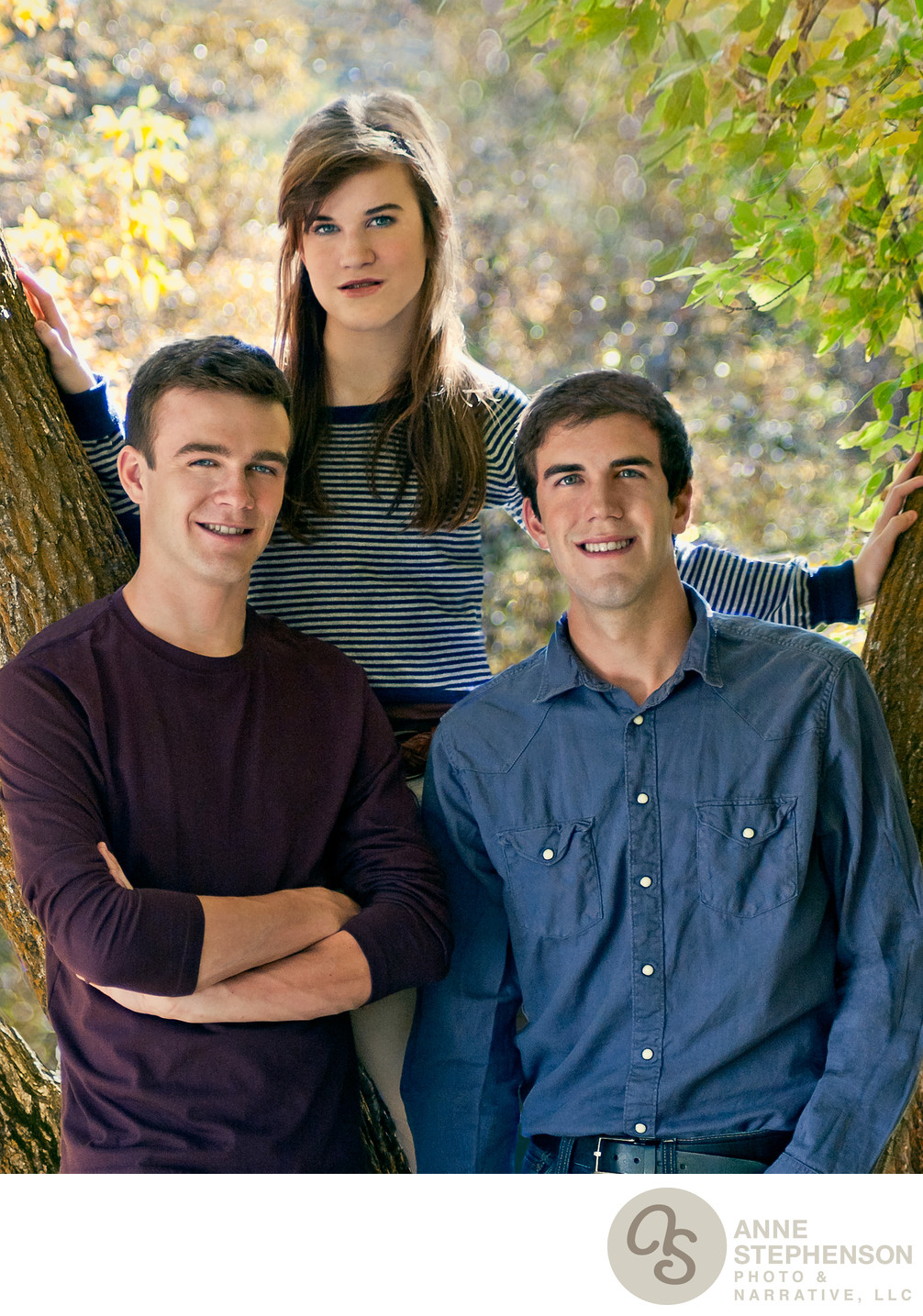 Autumn Portrait of Three Siblings