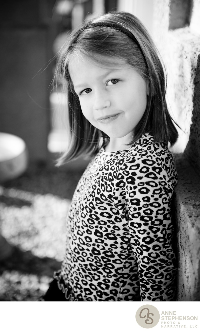 Teenage Portrait of Young Girl in Leopard Print Top