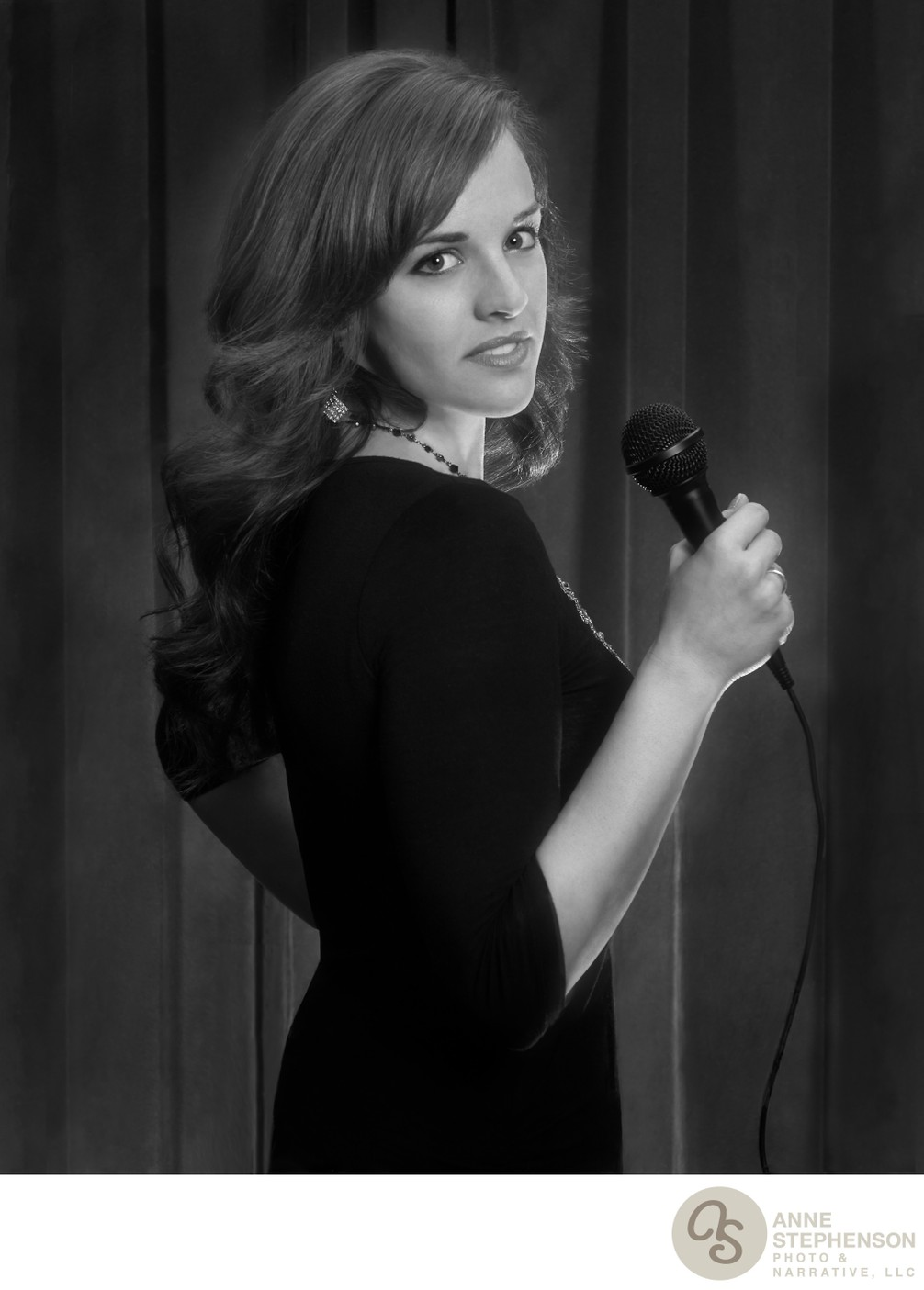 Portrait of a Singer with Microphone