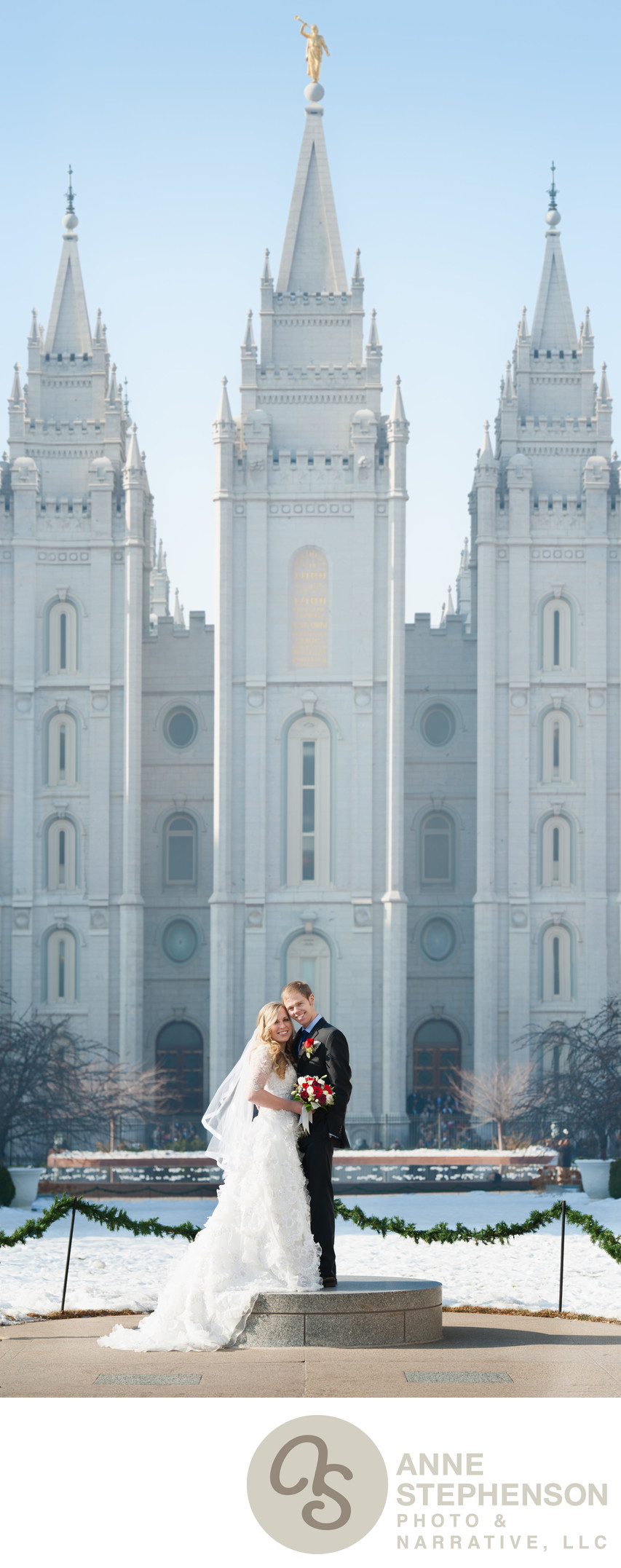 Wedding Portrait with Full View of Salt Lake Temple