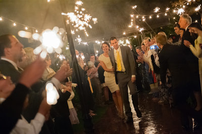 Sparkler wedding exit of bride and groom