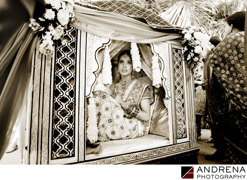 Indian Bride in Doli Beverly Hilton Wedding Photographer