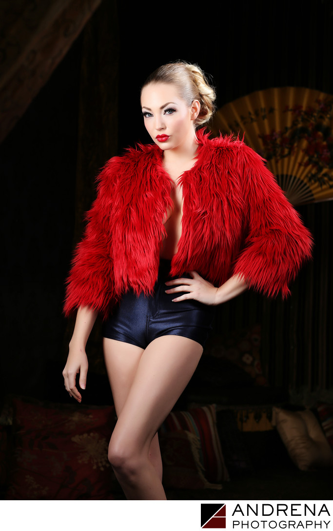 Sara Liz in Red Faux Fur Los Angeles Portrait Photographer