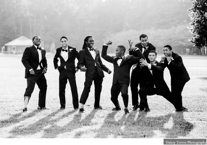 Honey Bee Country Club Wedding Groomsmen Having Fun