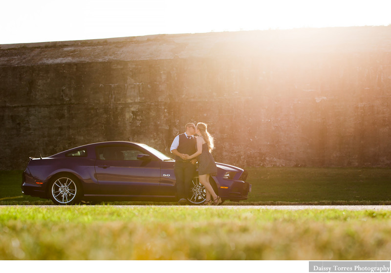 Car and Couple Engagement Session