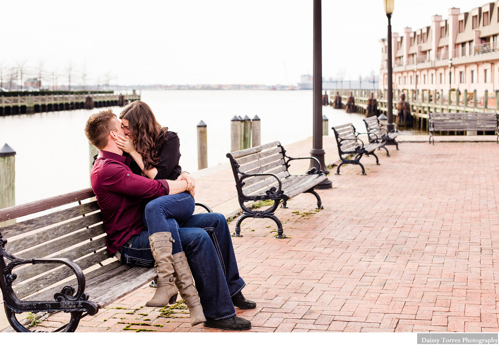 Downtown Norfolk Couple Kissing