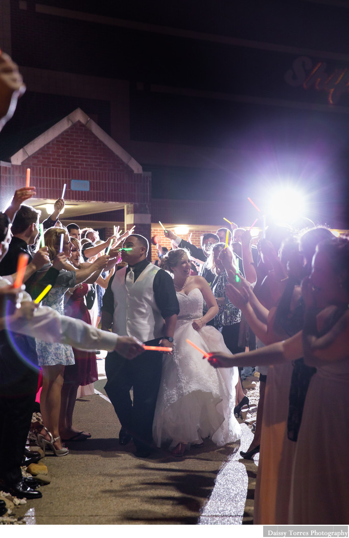 Glow stick exit during Shifting Sand Wedding
