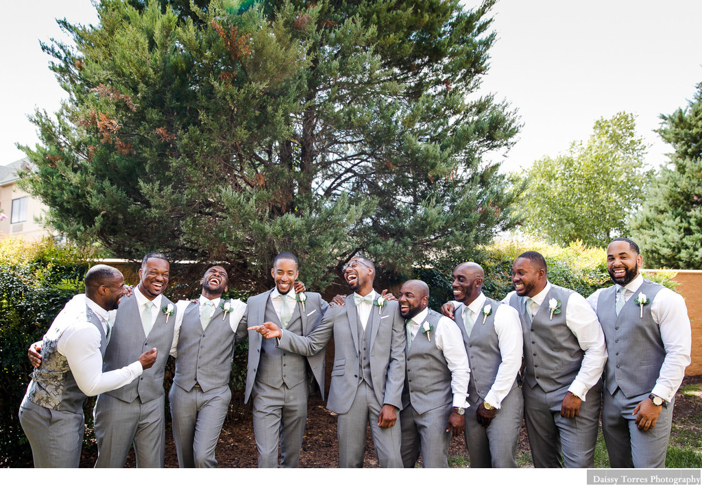 Groom and Groomsmen having fun Chesapeake