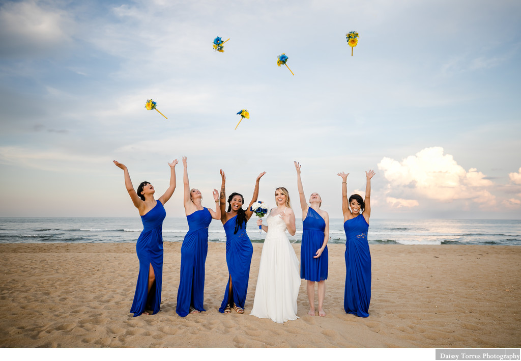Bridal Party in Blue. Shifting Sands Wedding