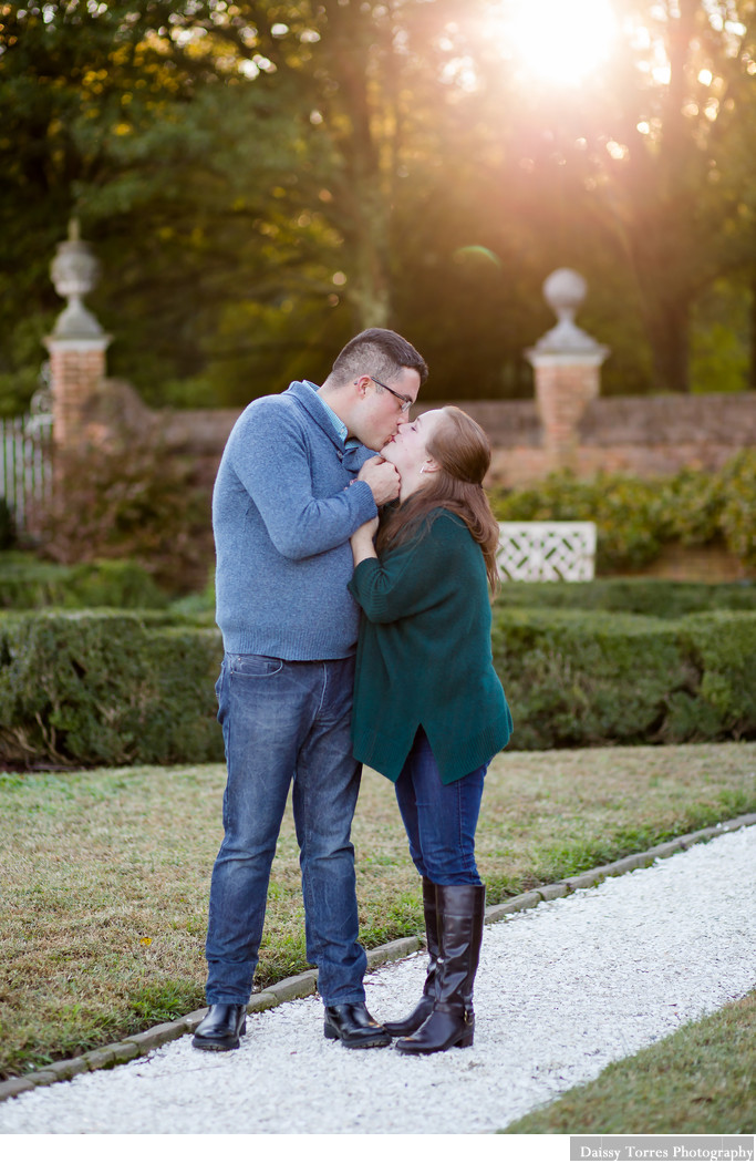 Colonial Williamsburg Golden Hour Engagement Session