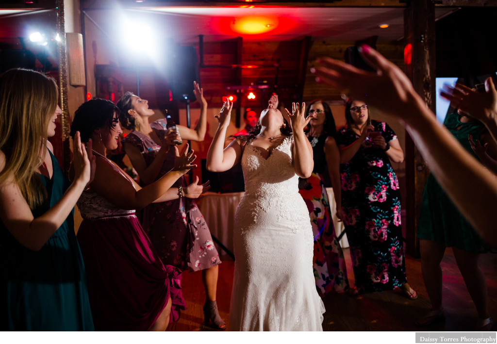 Bride having fun on her wedding day