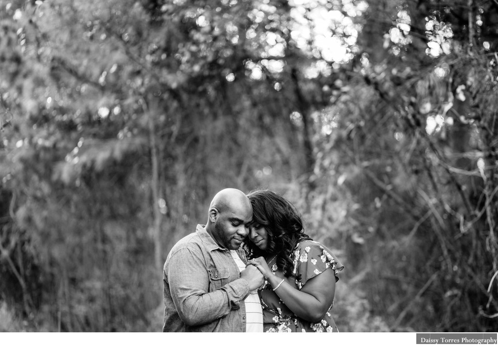 Black and White Engagement Virginia Beach