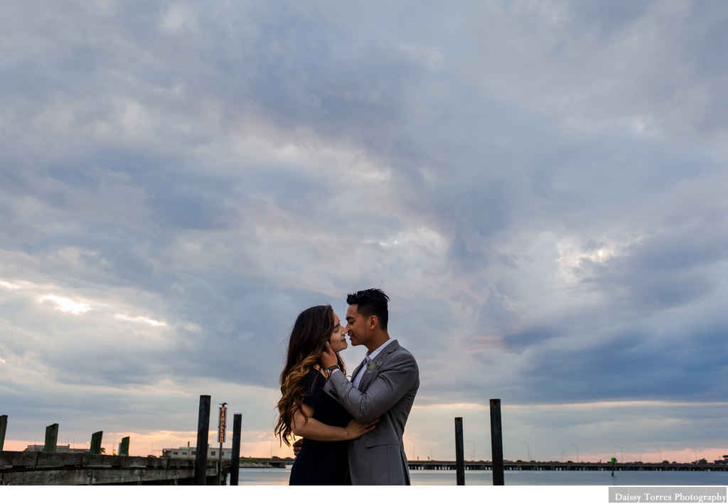 Storm and couple during engagement session