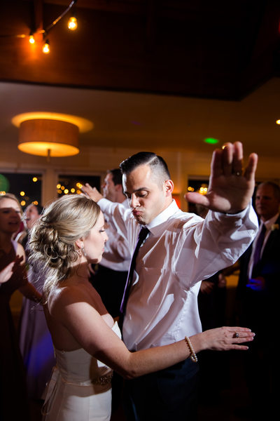 Bride and Groom dance during their Waterman's Reception