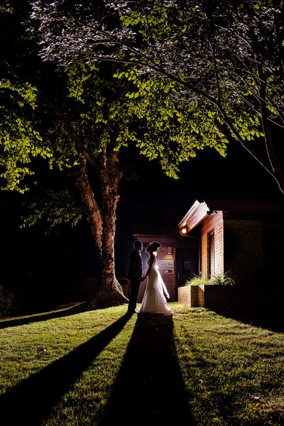 Honey Bee Country Club Wedding Nighttime Portrait