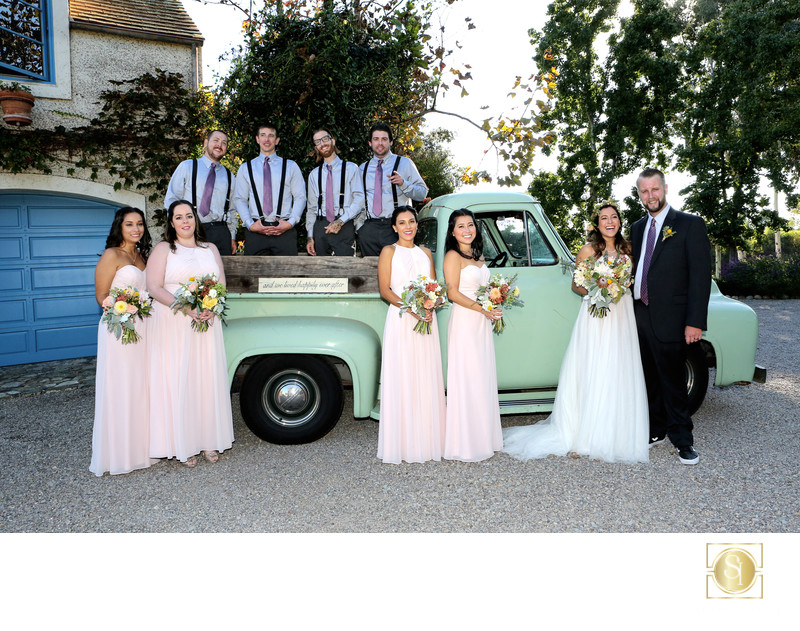 Wedding photo bridal party vintage truck