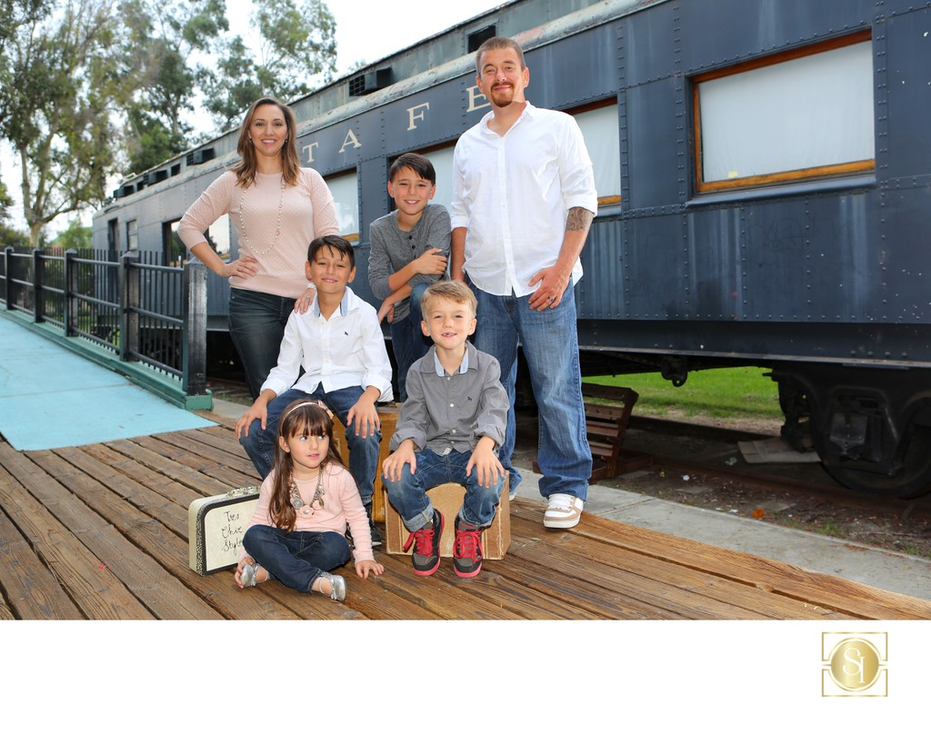 Family Portrait with Train Family Photographer