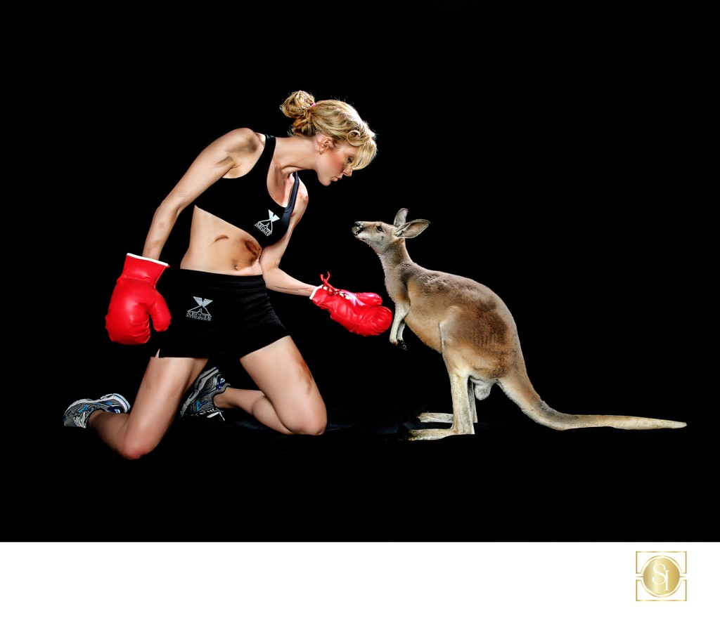 Fitness Model with Kangaroo Studio Portrait Photographer