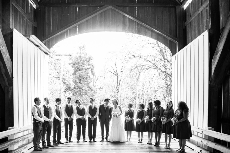Large Wedding Party Photographed Under Pengra Bridge