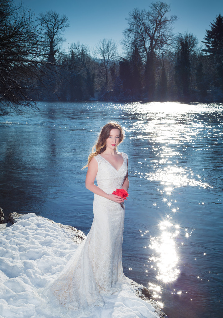 Bride in the snow.
