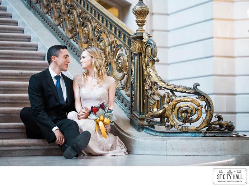 A Beautiful couple on a grand staircase