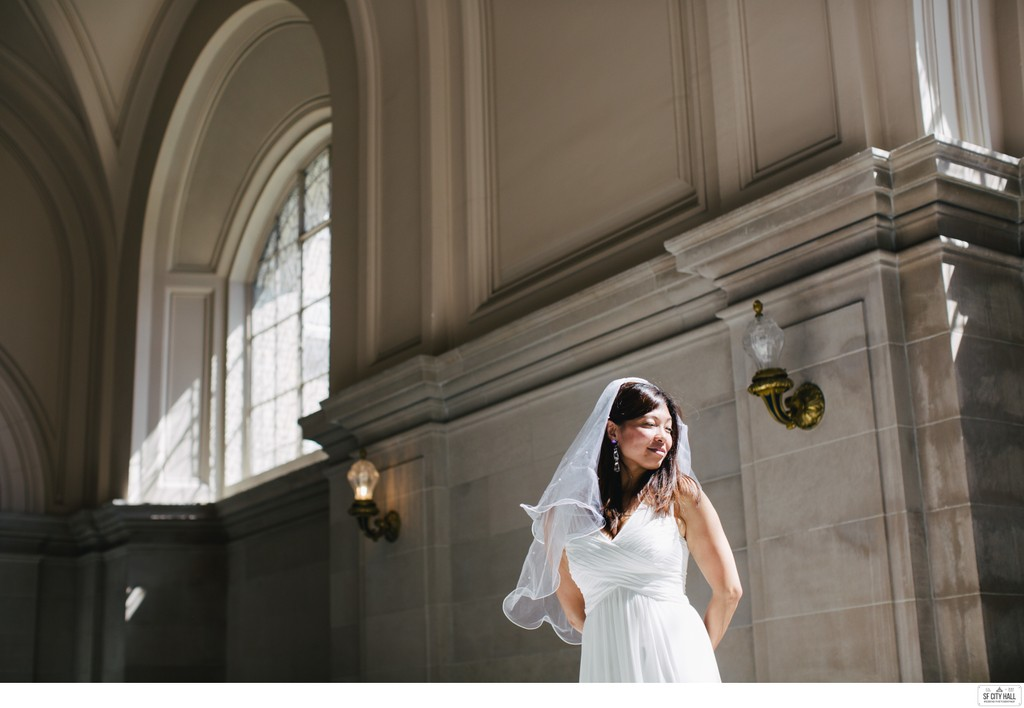 Thoughtful Bride at SF City Hall