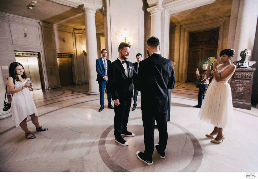 Grooms in Matching Shoes at SF City Hall