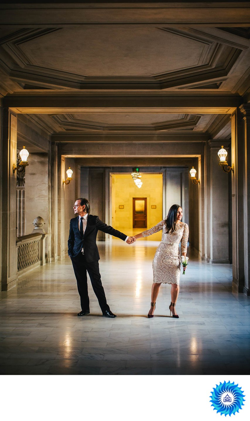 Bride and Groom in the Hallway at SF City Hall
