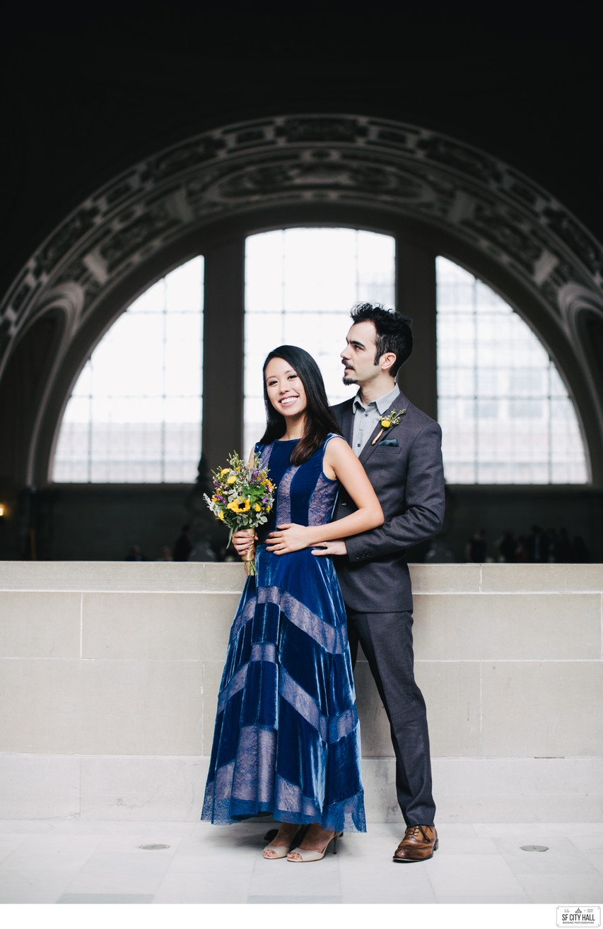 Bride in a Blue Dress at SF City Hall