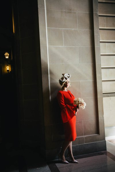 Bride in a Red Dress at SF City Hall 2