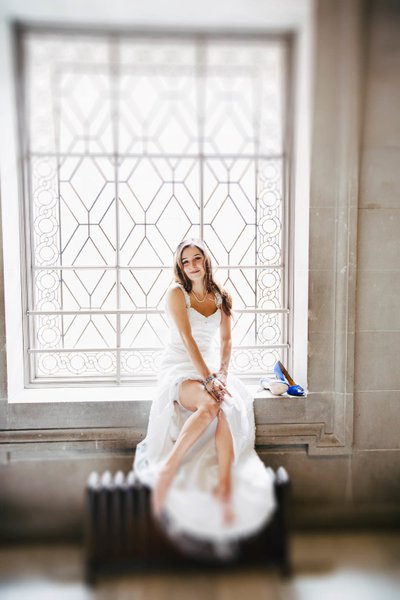 Bride at the Window at SF City Hall