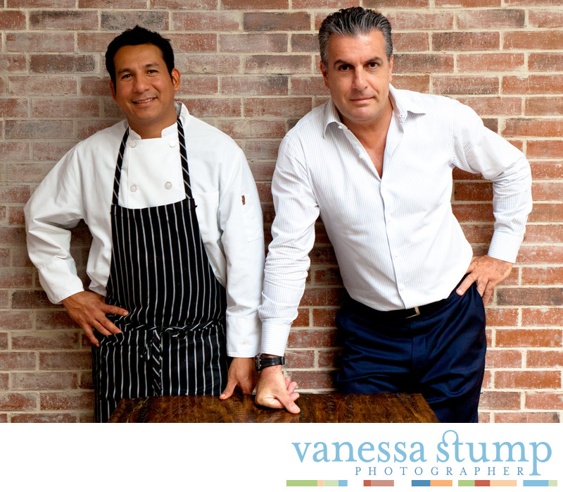 Portrait of chef Jesus Gutierrez and owner Armando Pucci