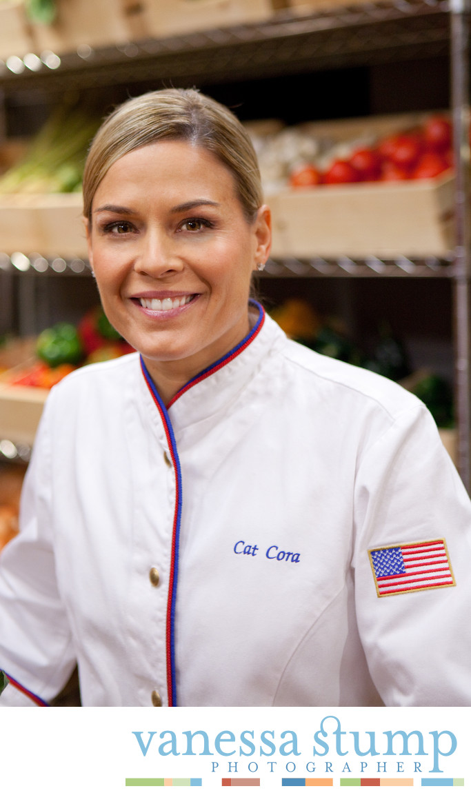 Portrait of Chef Cat Cora on the set of Masterchef