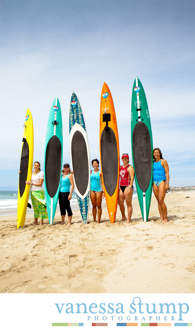 Beach Portrait of a group of Lady Paddle Boarders