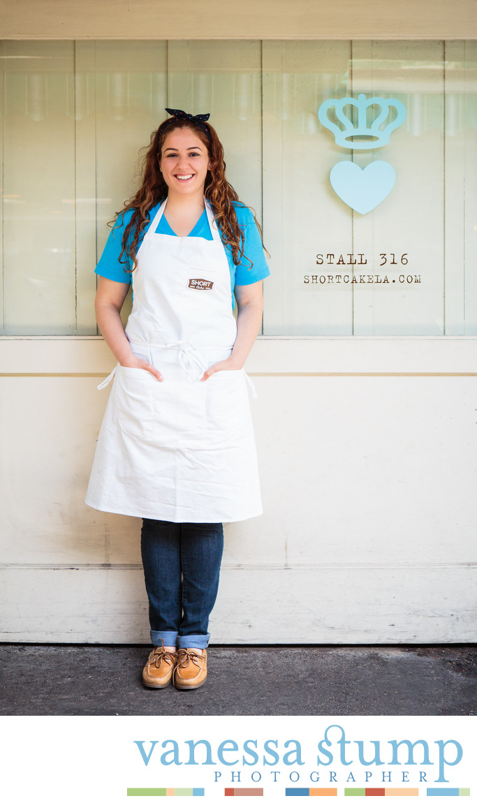 Portrait of pastry chef Hourie Sahakain at Short Cake Los Angeles, CA