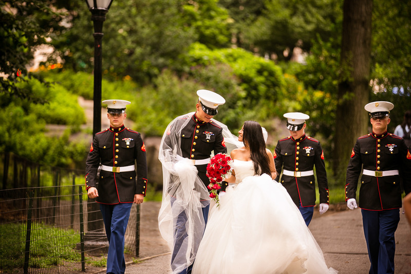 Central Park, New York City, Military Wedding Photo
