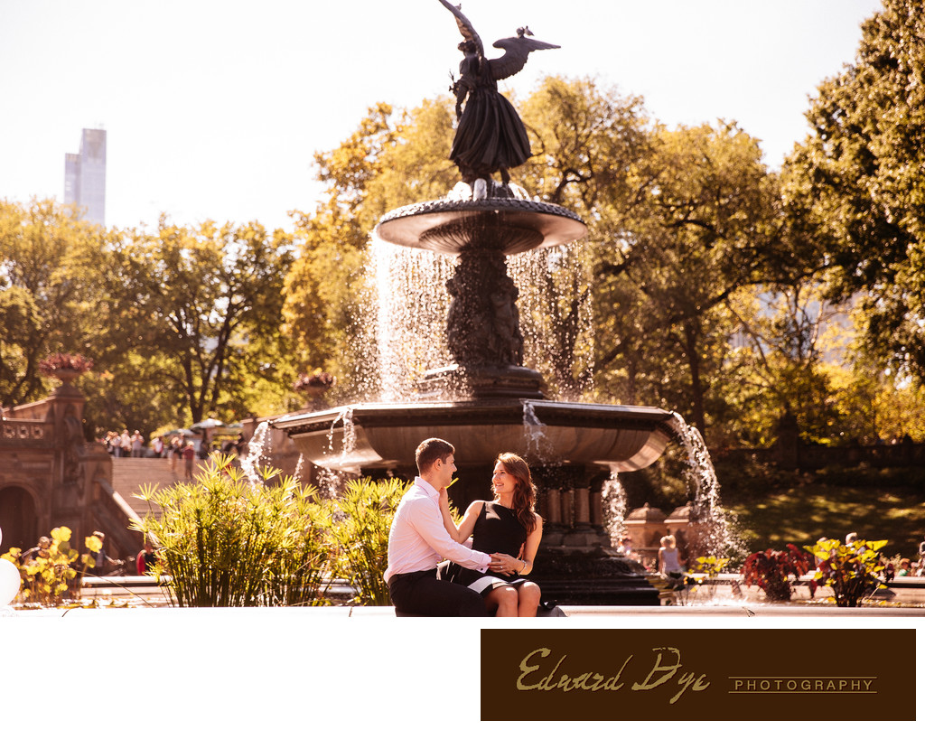 Central Park engagement photo Bethesda Fountain amazing