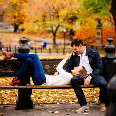 Central Park engagement photo Literary Walk in autumn