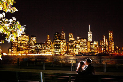 Brooklyn Bridge Park engagement photo Manhattan skyline