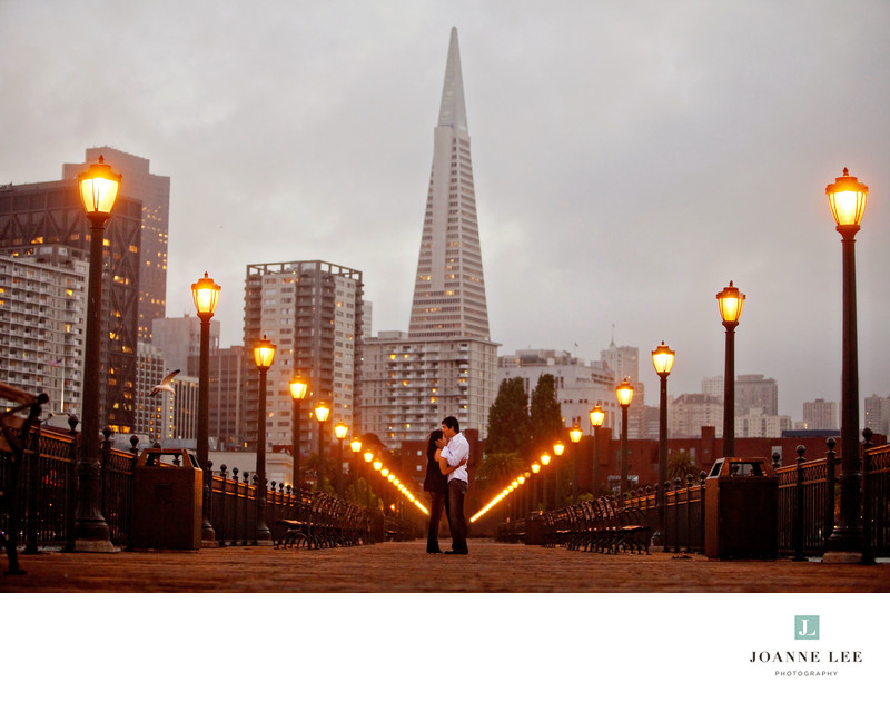 San Francisco nighttime engagement photos