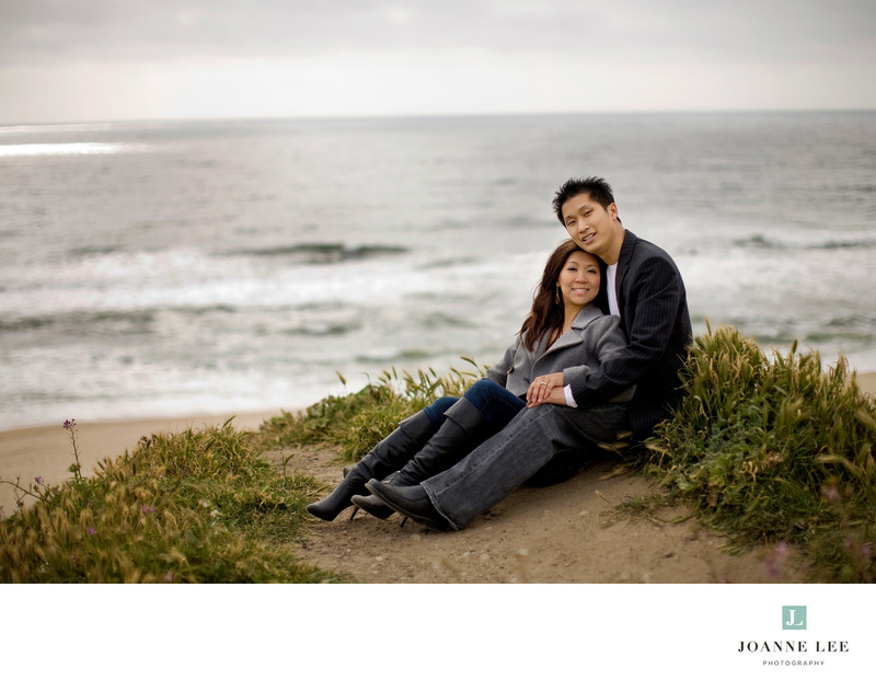 Half Moon Bay beach engagement photo