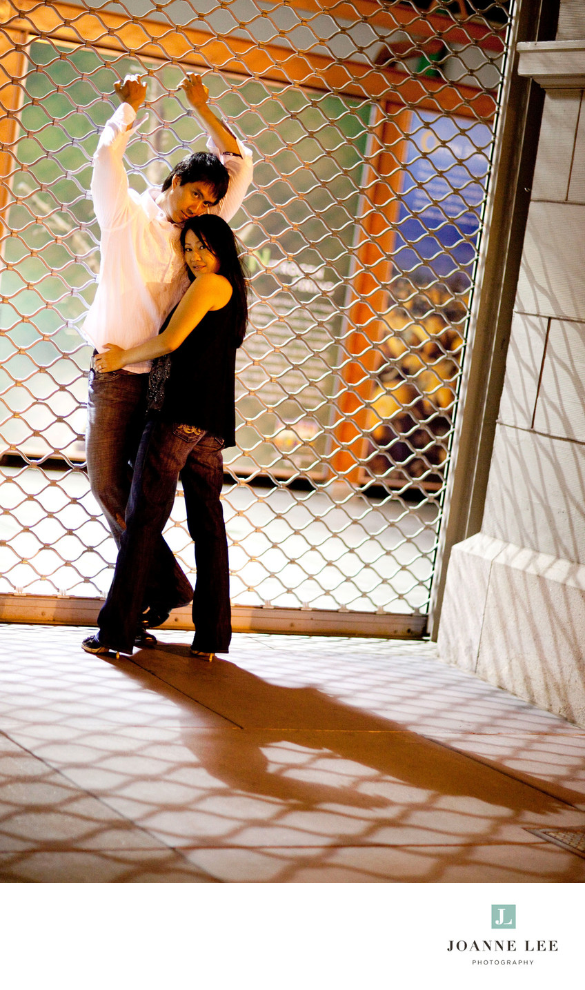 San Francisco nighttime engagement photo
